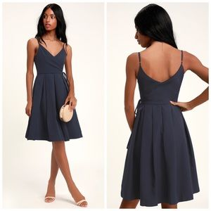 Lulus Thinking About You Pleated Faux Wrap Dress